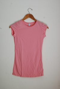 Long Scoop Neck Tee Front - Dusty Pink (Petite Only)