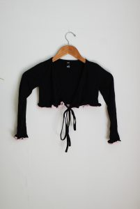 Frill Crossover - Black/Pink