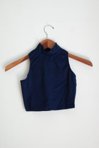 Bloch Crop Polo Neck Top - Navy